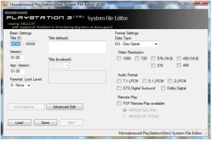 screen ecran PS3 PARAM SFO EDIT 1